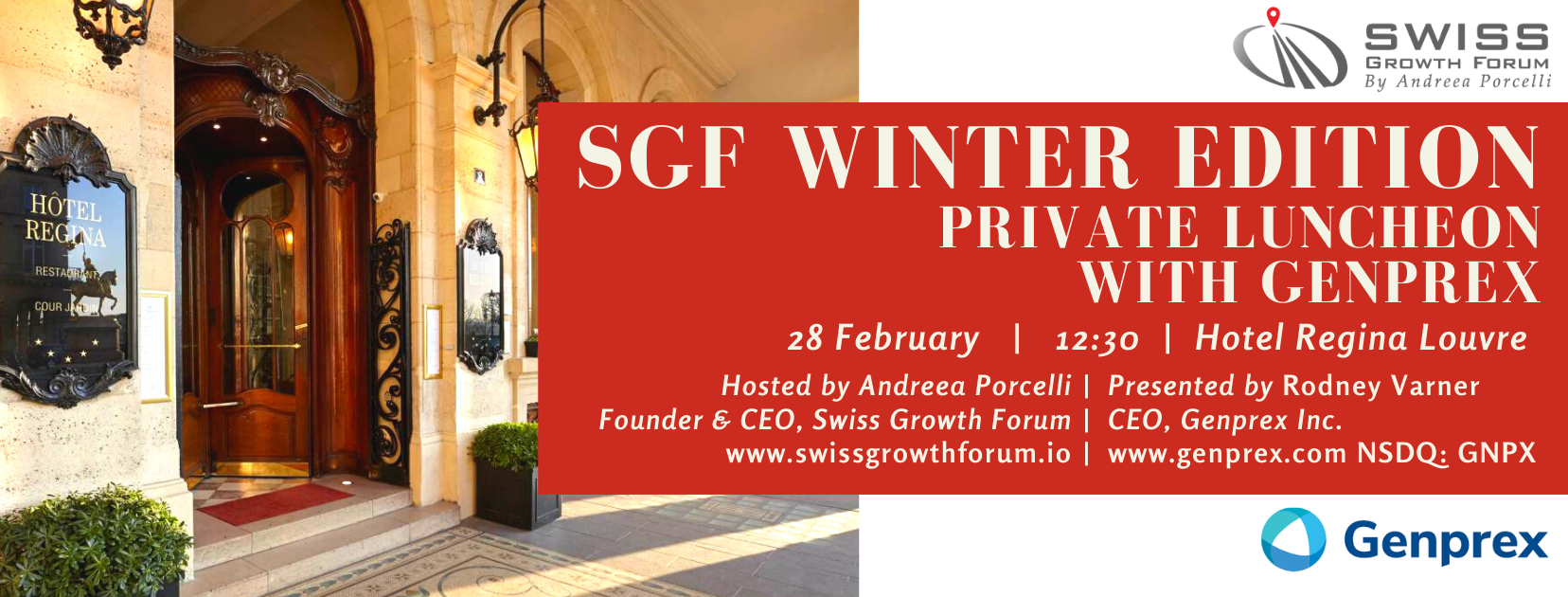 SGF Winter Edition 2020 Private Luncheon with Genprex in Paris organized by Swiss Growth Forum